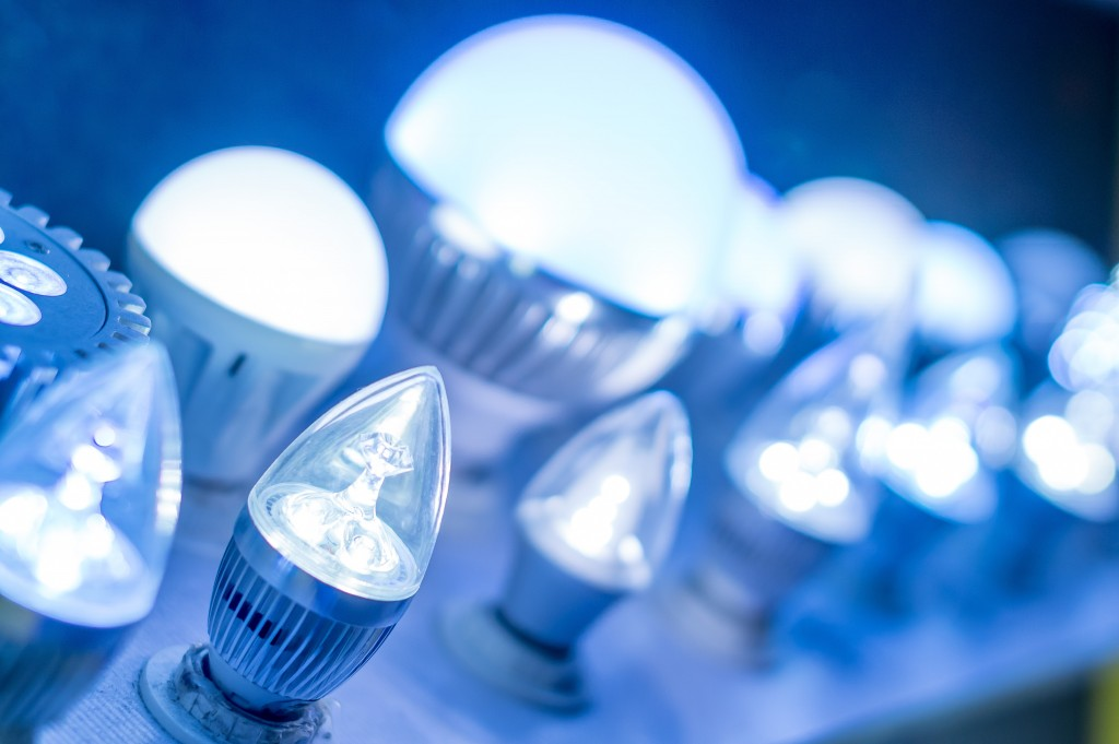 Led lamps blue light science and technology background