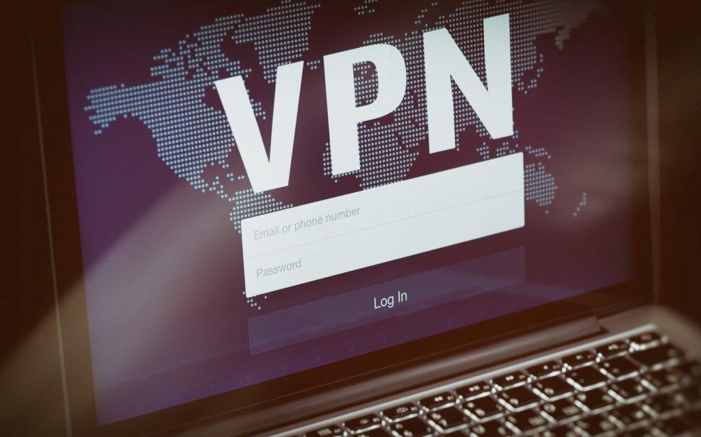 VPN technology. Network security on laptop