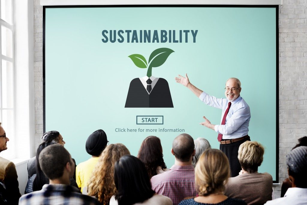 man discussing sustainability